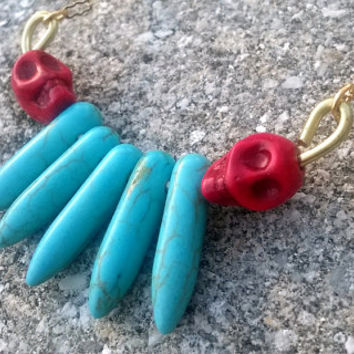 Red Skull & Turquoise Spike Howlite Beaded Necklace