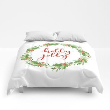 Christmas wreath-holly jolly Comforters by Sylvia Cook Photography
