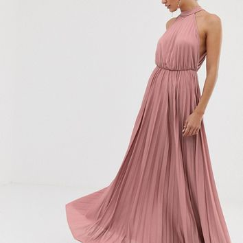 ASOS DESIGN Halter Pleated Waisted Maxi Dress | ASOS