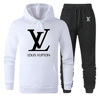 LV new tide brand casual men and women models wild sports suit two-piece white
