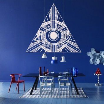 Wall Decal Decor Decals Sticker Art Illuminati All Seeing Eye Annuit Coeptis Symbols God Triangle Providence (M1109)