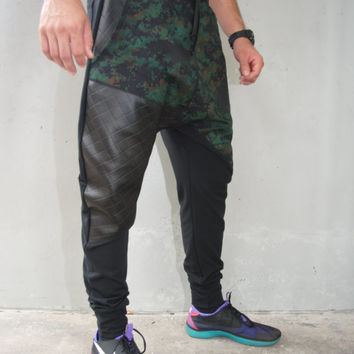Digital Camouflage Drop Crotch Harem Pants / Quilted Faux Leather / Mens Joggers / Mens Harem Pants / 3 Pockets / Handmade by GAG THREADS