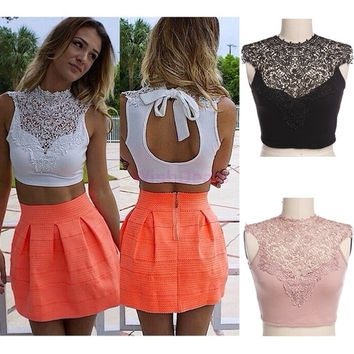 Summer Women Sexy Tank Top tee Backless Sleeveless Short Vest Hollow Out White/Black/Pink Lace Crop Tops SV012655|42101 = 5698938881