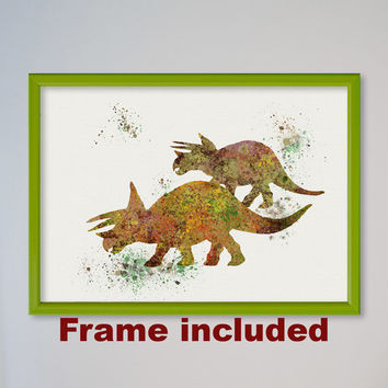 Dinosaur Triceratops Poster Watercolor Nursery Art Print Home Wall Decor Animal Art Late Jurassic Children Birthday Gift Dino Family FRAMED