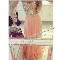 Beaded Bodice Prom Dress Chiffon Prom Dress Evening Dress Strapless Chiffon Prom Dress Gown Wedding Dress Bridesmaid Dresses Formal Dress