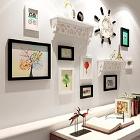12 Pcs  Natural Wood Photo Frame Combination Include Storage Rack Home Picture Frame Decoration