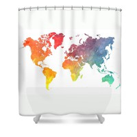 Map of the world colored Shower Curtain