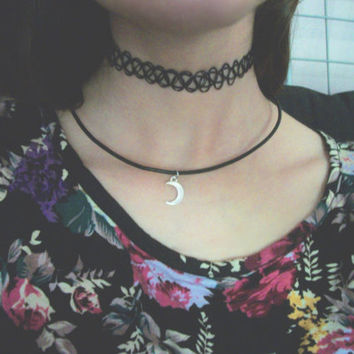 Cresent Moon Goth Charm Necklace // 90's Pastel Goth, Soft Grunge, Kawaii // Cute Moon Black Leather Cord Necklace