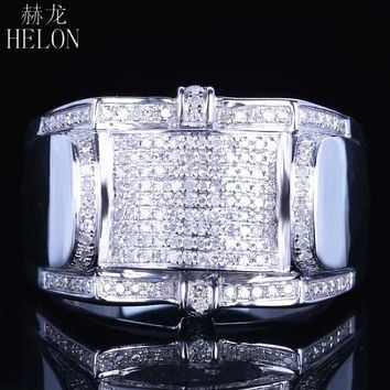 HELON Men's Natural Diamond 925 Sterling Silver Pinky Ring