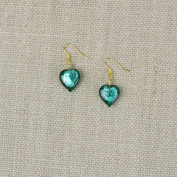 Teal Glass Heart Earrings