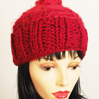 Handmade red knit beanie / Burgundy crochet cap / Cranberry toque / Teen girl hat / Woman winter hat / OOAK hat