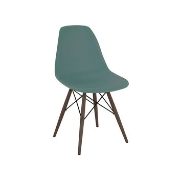 Trige Navy Green Side Chair with Walnut Wood Base (Set of 2)