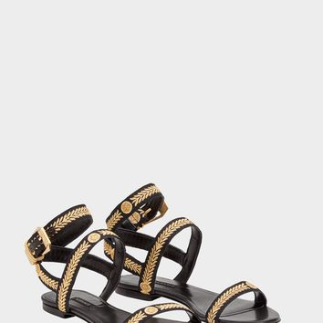 Versace Medusa Leaves Flat Sandals for Women | US Online Store