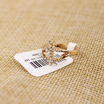 Simple and compact Shiny Gemstone Ring Female Gold Alloy Anchor Ring Specials New Trends Women Accessories KL