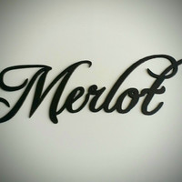 Merlot Wine Word Metal Wall Art Home Kitchen Decor