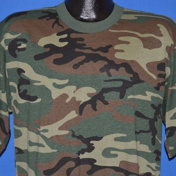 80s Woodland Camouflage Deadstock t-shirt Large Tall