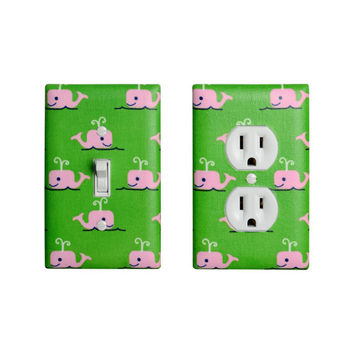 Whale Light Switch Plate & Outlet Cover / Boy Girl Baby Nursery / Preppy Nautical / Kelly Green Pink Navy Blue / Kids Room Bathroom
