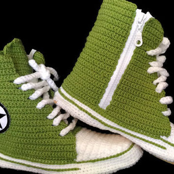 Converse Slippers for Women and Male, Converse Shoes Booties, Crochet House Shoes, Converse Crochet Slipper, Custom Converse, Sneakers,