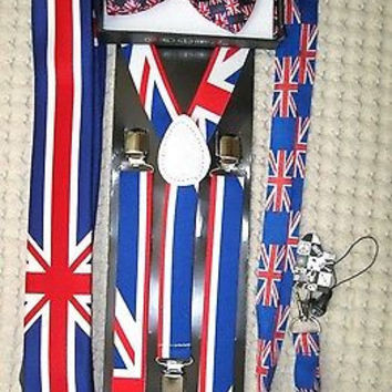 UK British Flag Y-Back Suspenders,UK Lanyard,UK Neck Tie & UK British Bow Tie-v9