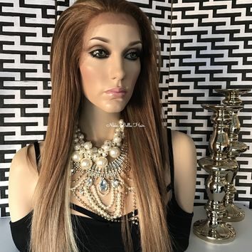 Athens Glamour Human Hair Blend Multi Parting Lace Front Wig 18""