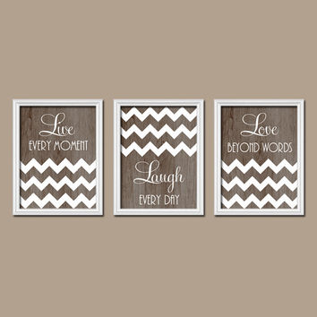 White Brown Wood Grain Live Laugh Love Custom Colors Modern Style Artwork Set of 3 Prints WALL ART Decor Bedroom Bathroom Nursery Dorm