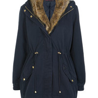 Navy Fur Collar Parka Jacket - View All  - New In