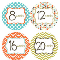 Pregnancy Stickers Week Baby Bump Stickers Weekly Belly Stickers Chevron Maternity Week Photo Prop for Expectant Moms - Pat2-R