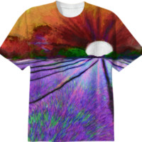 Lavender Field at Sunset T-Shirt created by Blooming Vine Design | Print All Over Me