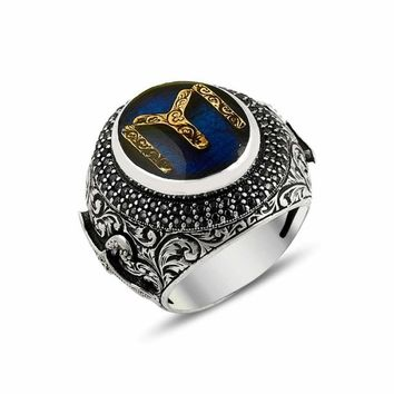 Filigree unique monogram 925k sterling silver mens ring