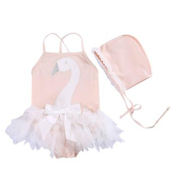 3-7Y Toddler Baby Girls Kids Swan Lace Swimable One Piece Swimwear + Hats 2PCS Bikini Set Tutu Swimsuit Beachwear Bathing Suit