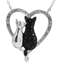 """Sterling Silver Tender Voices 1/5 cttw Black & White Diamond Cats Heart 18"""""""