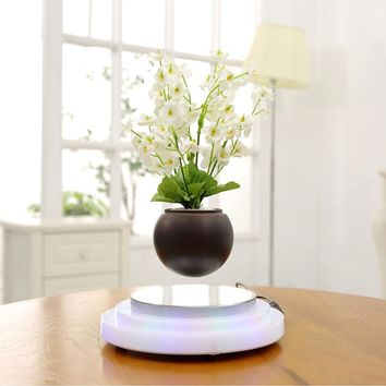 Plant Pot Decor Magnetic Floating Flower Levitating Air Bonsai Flowerpot with LED Light Base for Home Office Decoration