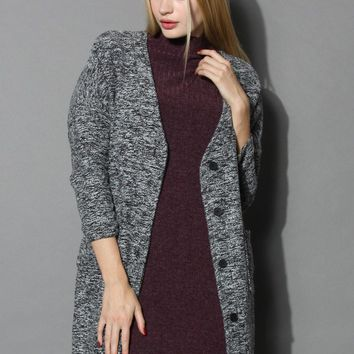Charm of Classic Tweed Coat in Grey