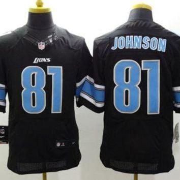 PEAP1N Nike Detroit Lions #81 Calvin Johnson Black Alternate NFL Elite Jersey