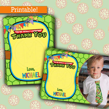 Ninja Turtles THANK YOU cards | TMNT Birthday Party | Printable, Picture Thank You notes
