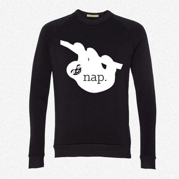 Nap Sloth fleece crewneck sweatshirt