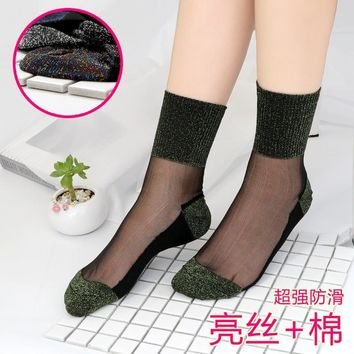 Sexy Lace Mesh silk Fishnet Socks Fiber Transparent Stretch Elasticity Ankle Net Yarn Thin Women Cool Socks 1pair=2pcs TMD03