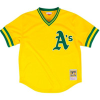 Rickey Henderson Gold Oakland Athletics Authentic Mesh Batting Practice Jersey