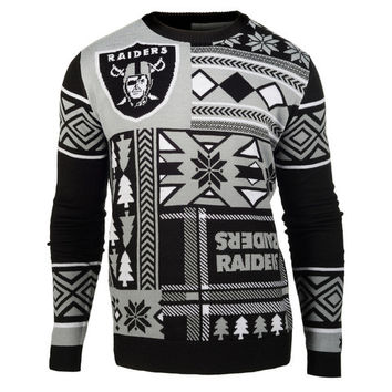 "Oakland Raiders Official Men's NFL ""Ugly Patches"" Sweater by Klew"