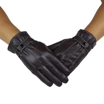 1 pair Mens Thicken Winter Hiking Gloves Full Finger PU Leather Wearable Waterproof Non-slip #W21