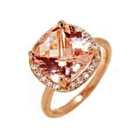 14k Rose Gold Natural Morganite & Diamond Ring Size 6 Ct.tw 5.20