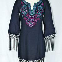 $119 Flying Tomato BOHO Fringe Ethnic Embroidered Tunic Dress or Cover Up