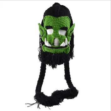 2017 Novelty Men's Caps Handmade Crochet Winter Warm Hats Warcraft Game Thrall Masks Funny Halloween Xmas Birthday Party Gift