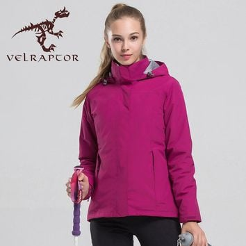 Women's Hiking jacket Waterproof Outdoor Windbreaker Warm Ski Camping  Winter 2 pieces Fleece Lining Coat Hunting Fishing