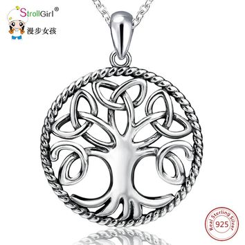 925 Sterling Silver Tree of Life Celtic Knot Pendant Necklace
