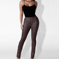 Grey Snake Skin Faux Leather Pants