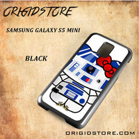 R2D2 Star Wars Hello Kitty Black White Snap On 3D For Samsung Galaxy S5 Mini Case
