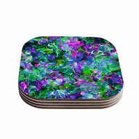 "Ebi Emporium ""Bloom On! Exotic"" Green Purple Coasters (Set of 4)"