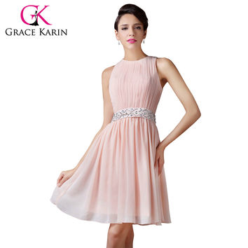 Grace Karin Short Bridesmaid Dresses 2017 Sleeveless Fashion Knee Length Light Pink Adult Women Girls Shining Bridesmaid Dress