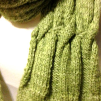 Lime Scarf Extra Long Hand Knit Reversible Pattern Green Handmade Long Scarf